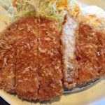 那覇市旭町の我那覇豚肉店でランチにトンカツ食べた。