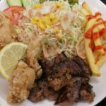 宜野湾市大山 宜野湾漁港のがぶり食堂でランチにサイコロステーキ食べた。